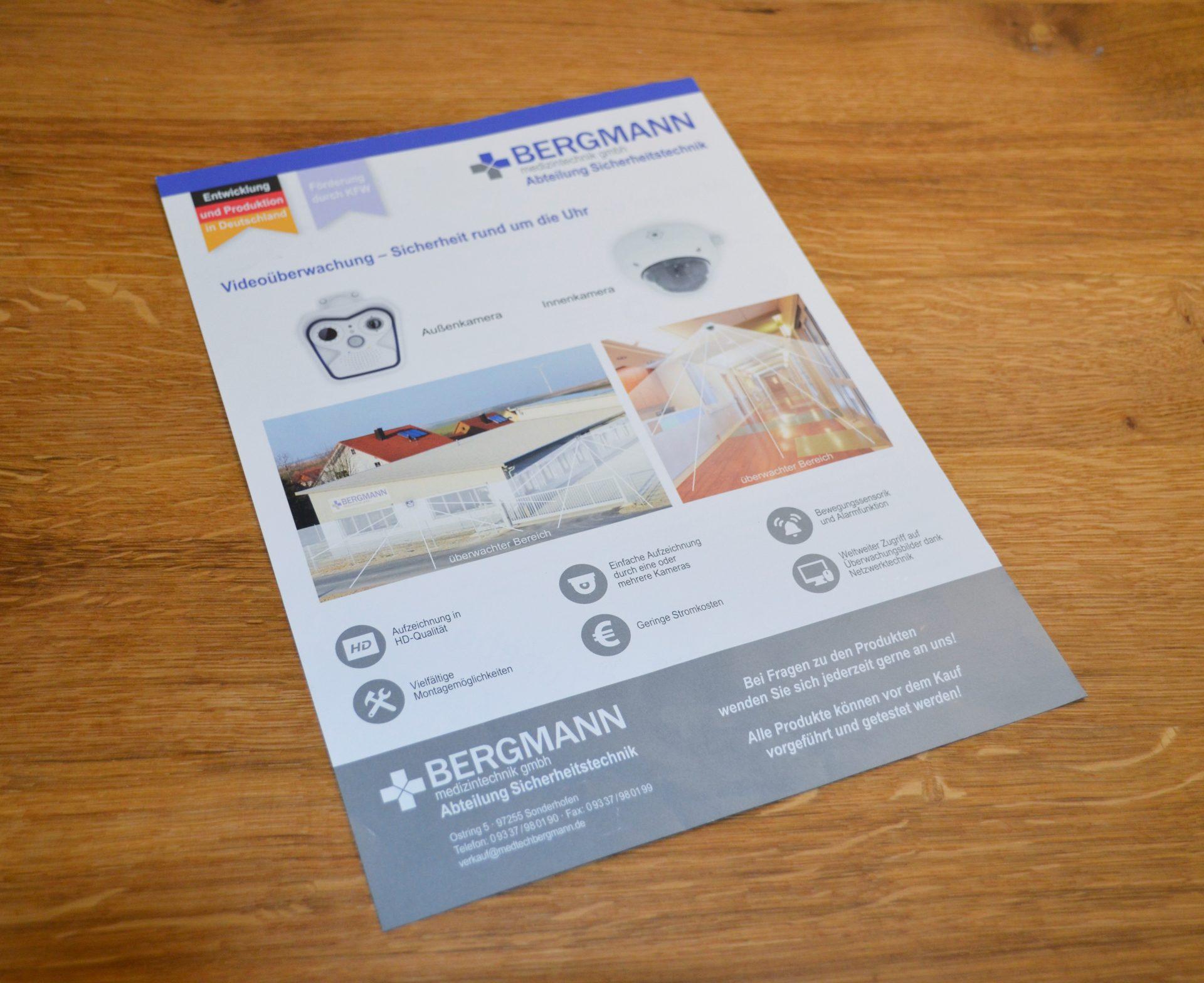FZ Mediengestaltung - Flyer Bergmann Sicherheitstechnik Videoüberwachung