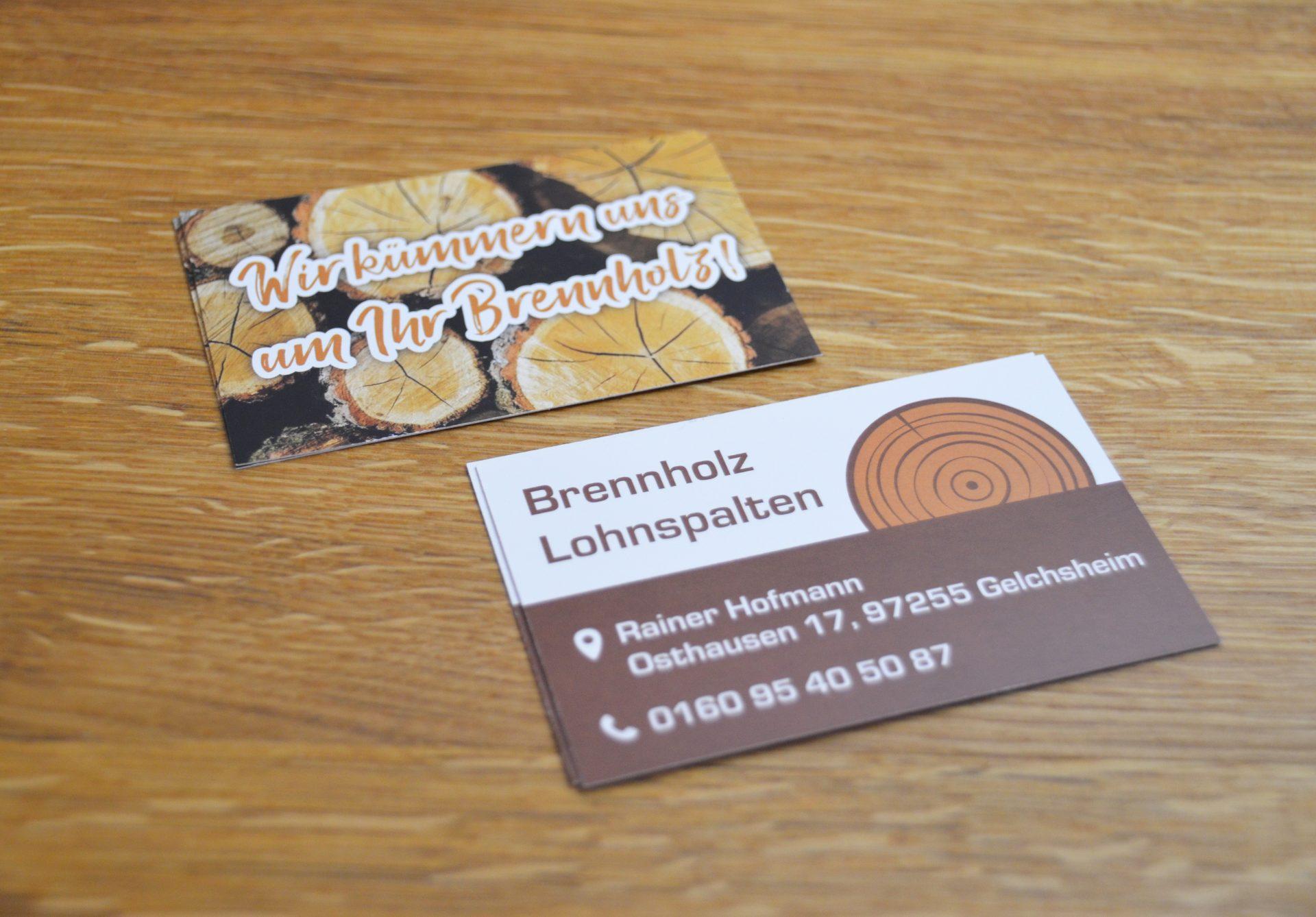 FZ Mediengestaltung - Visitenkarte Brennholz und Lohnspalten